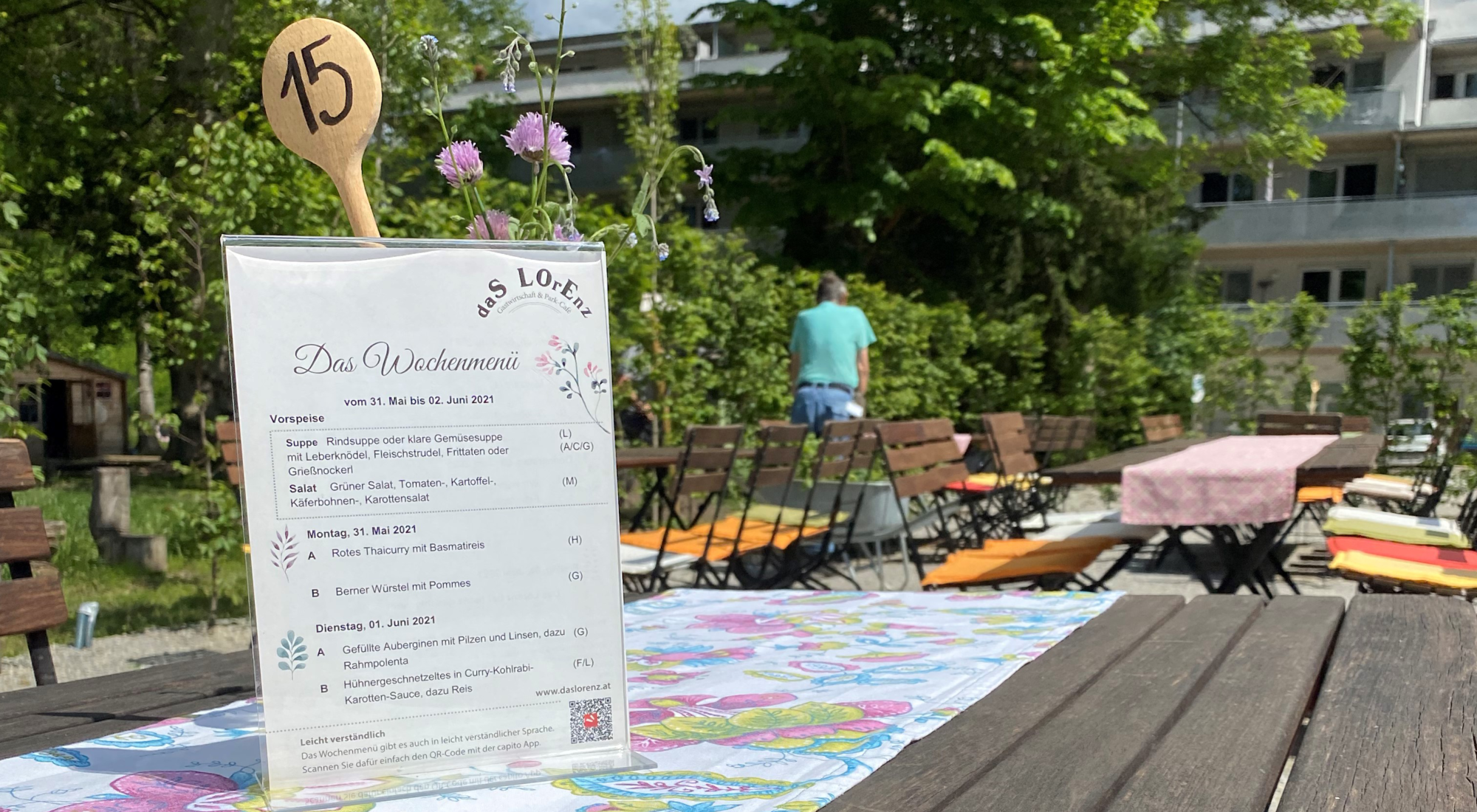 Menükarte im Lorenz Gastgarten